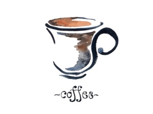 A cup of coffee watercolor