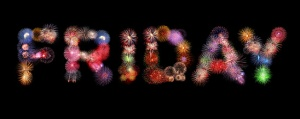 Friday word text colorful fireworks