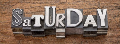 Saturday word in mixed vintage metal type