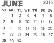 Calendar on june 2015 on white background is insulated