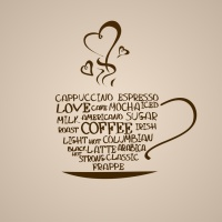 Isolated icon of coffee cup made from words